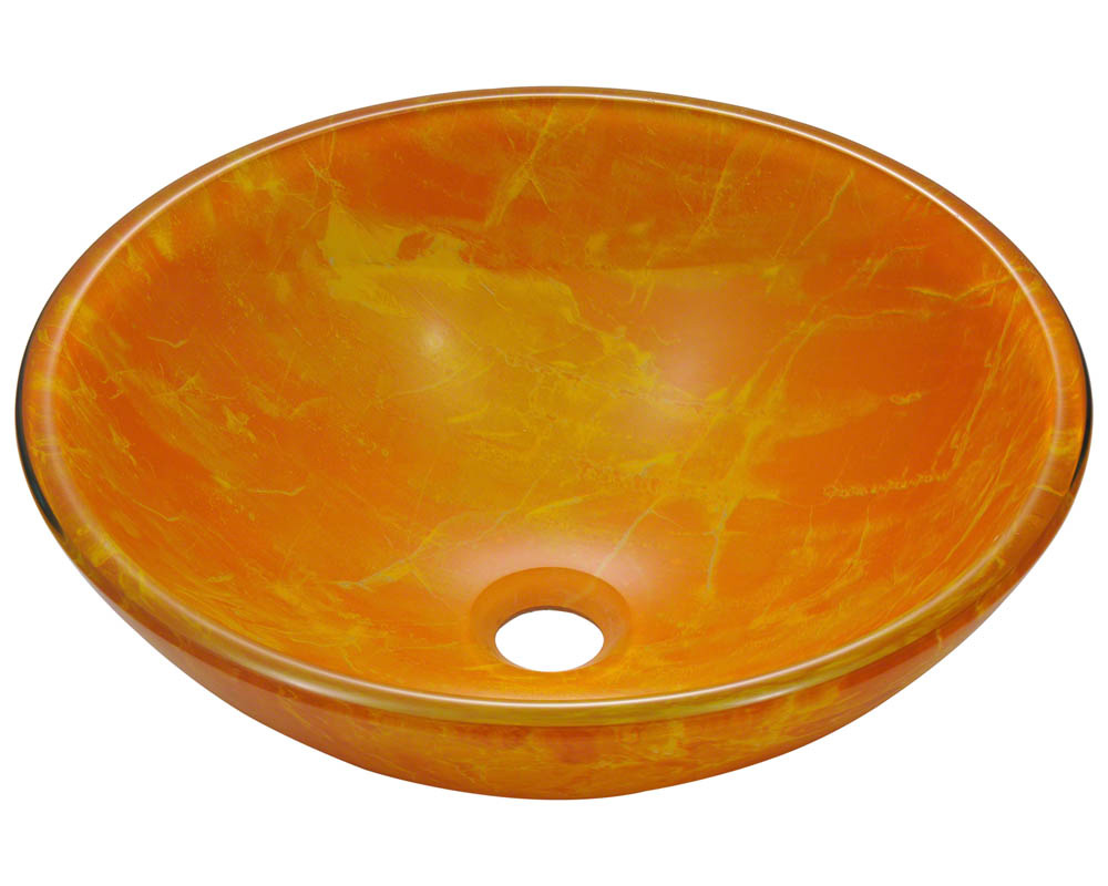 Polaris P506 Yellow/Orange Double Layer Glass Vessel Sink