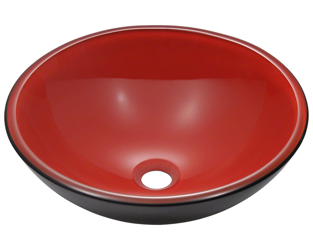 Polaris P606 Black/Red Double Layer Glass Vessel Sink