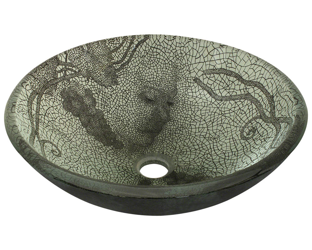 Polaris P426 Cracked Vineyard Glass Vessel Bathroom Sink