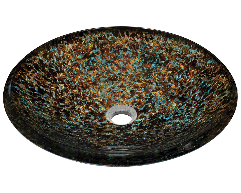 Polaris P436 Hand Painted Foil Undertone Glass Vessel Sink