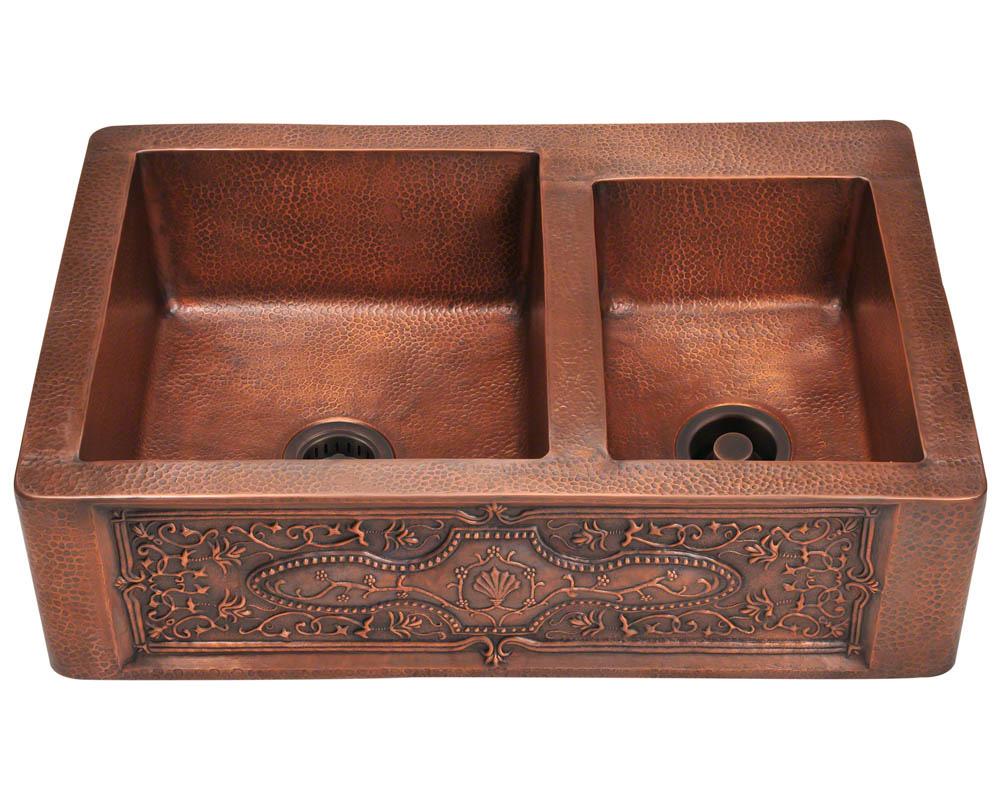 Polaris P119 Double Offset Bowl Copper Apron Sink