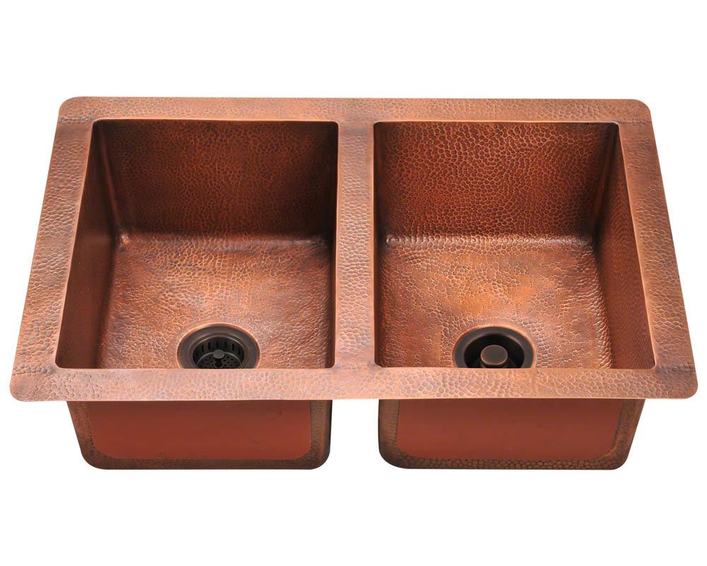 Polaris P209 Double Equal Bowl Copper Sink