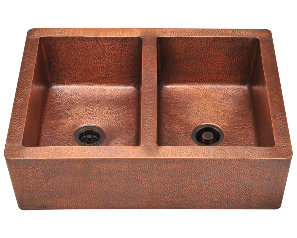 Polaris P219 Double Equal Bowl Copper Apron Sink