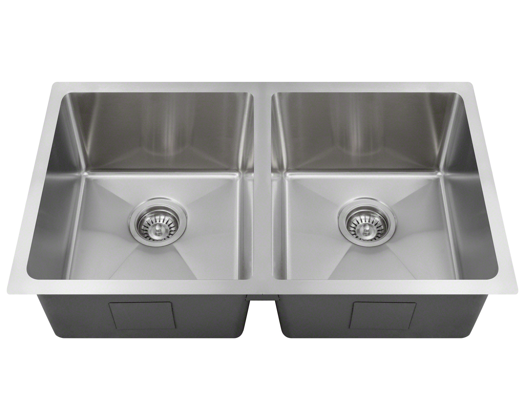 "Polaris PD0213 Undermount Double Bowl 3/4"" Radius Stainless Steel Kitchen Sink"