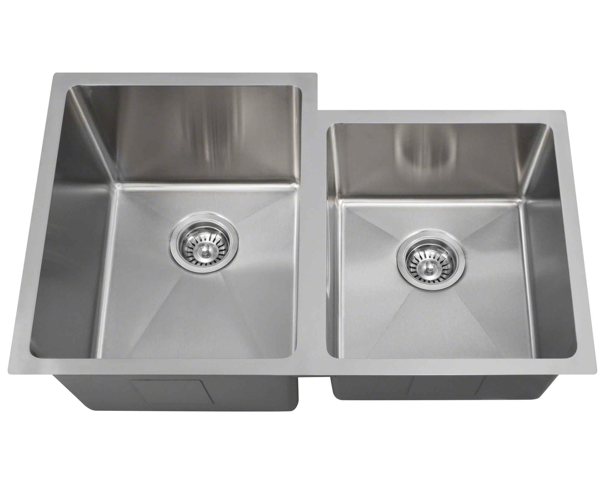 "Polaris PL0213 Undermount Offset Double Bowl 3/4"" Radius Stainless Steel Kitchen Sink"