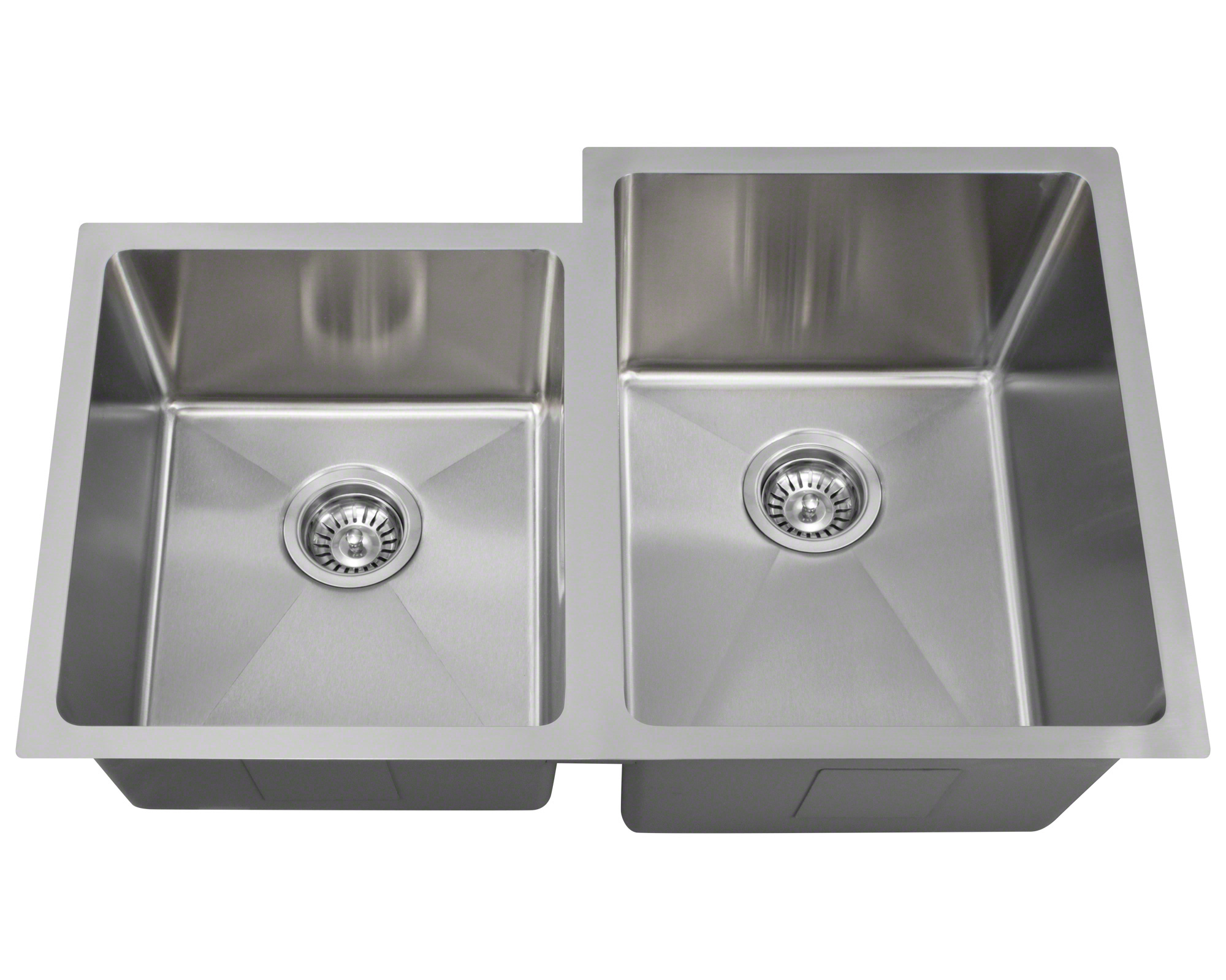 "Polaris PR0213 Undermount Offset Double Bowl 3/4"" Radius Stainless Steel Kitchen Sink"
