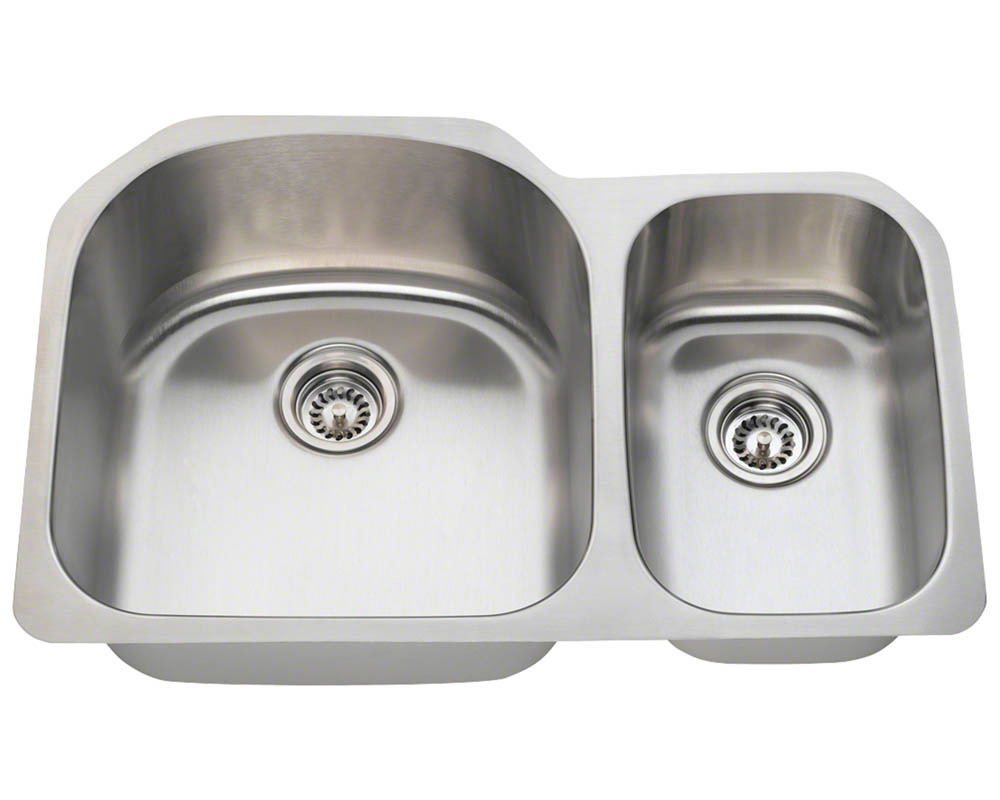 Polaris PL1213-16 Offset Double Bowl Stainless Steel Kitchen Sink
