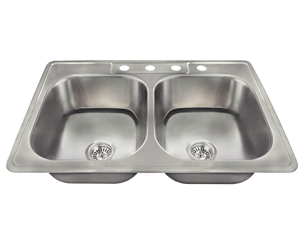 Polaris PT2201US Topmount Double Equal Bowl Stainless Steel Sink