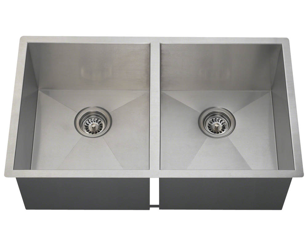 Polaris PD2233 Double Equal Bowl Rectangular Stainless Steel Kitchen Sink
