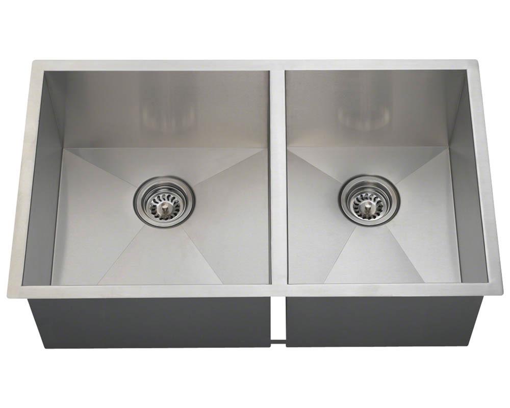 Polaris POL2233 90° Double Bowl Rectangular Stainless Steel Sink