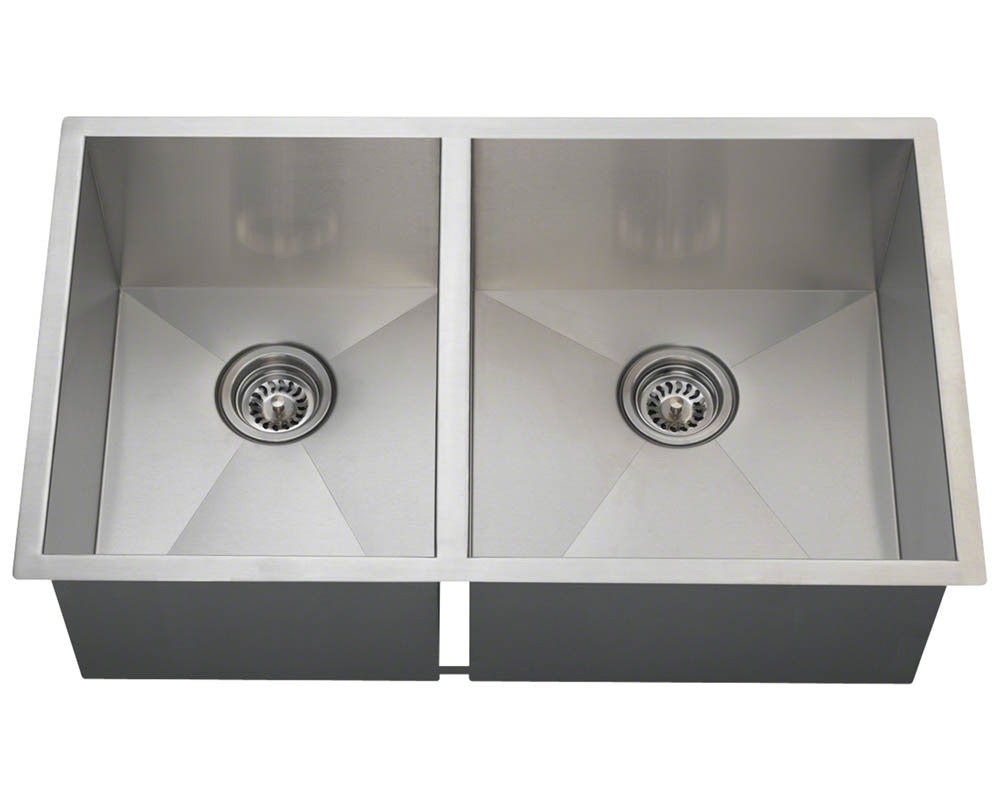 Polaris POR2233 90° Double Bowl Rectangular Stainless Steel Sink