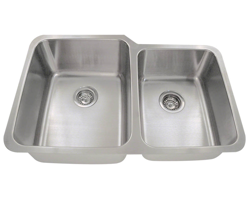 Polaris PL315 Offset Double Bowl Stainless Steel Kitchen Sink