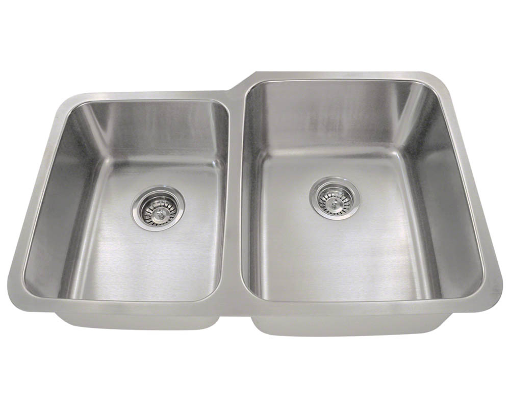 Polaris PR315 Offset Double Bowl Stainless Steel Kitchen Sink