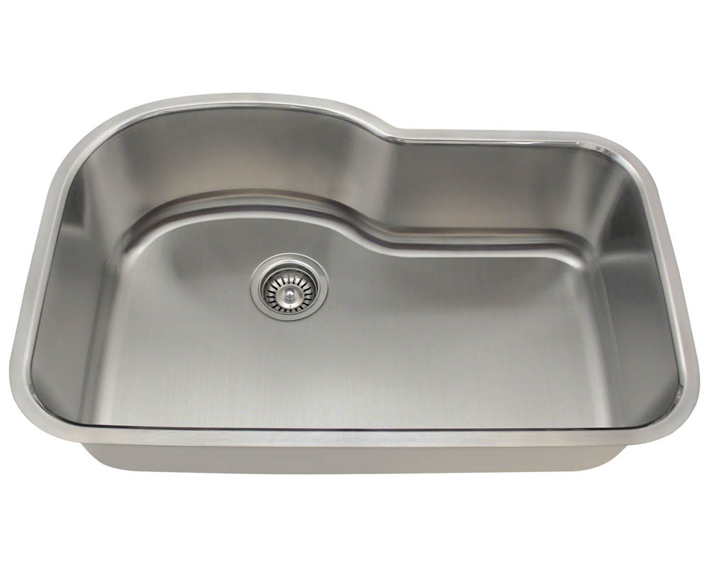 Polaris P643-16 Offset Single Bowl Stainless Steel Sink