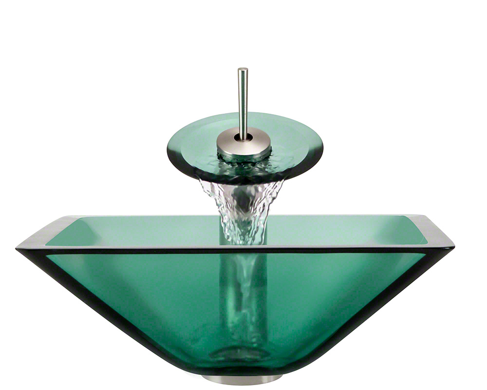 The Polaris P306 Emerald Brushed Nickel Bathroom Waterfall Faucet Ensemble