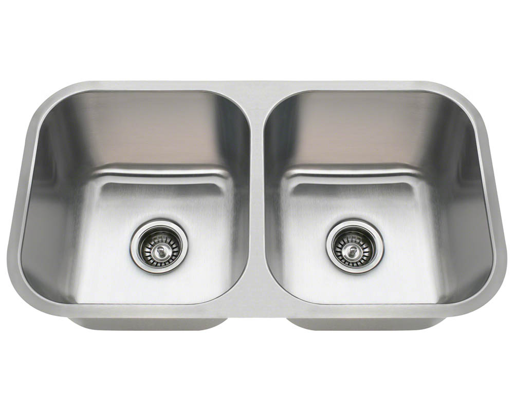 Double Bowl Stainless Sink : ... about 3218A 18 Gauge Double Bowl Undermount Stainless Steel Sink