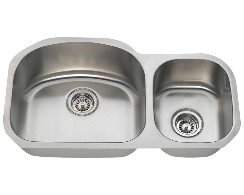 Polaris PL105-16 Offset Double Bowl Stainless Steel Kitchen Sink
