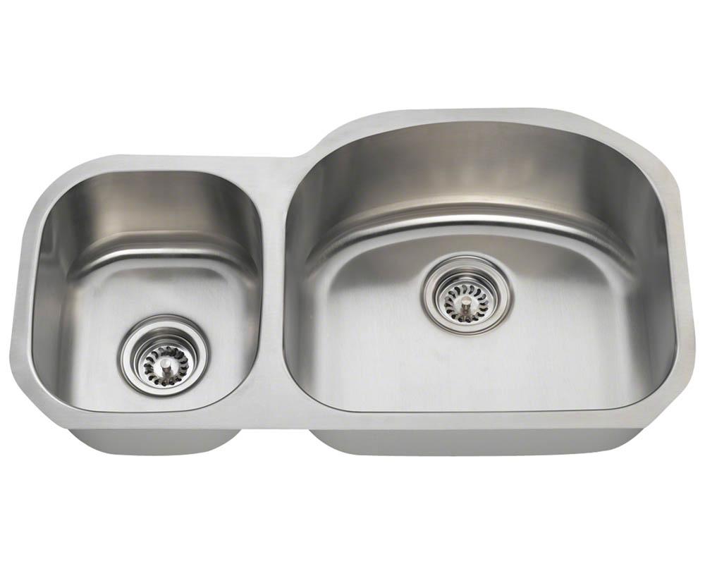 Polaris PR105-16 Offset Double Bowl Stainless Steel Kitchen Sink