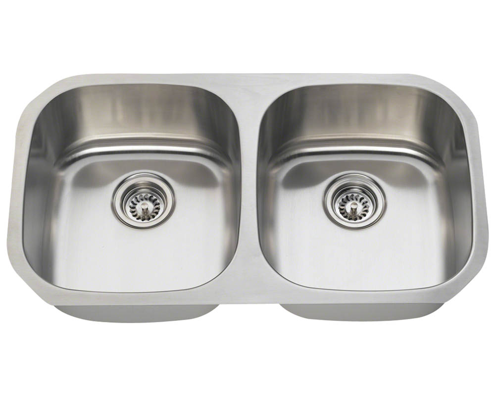 Polaris P205-16 Equal Double Bowl Stainless Steel Sink