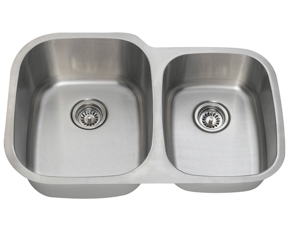 Polaris PL305-16 Offset Double Bowl Stainless Steel Sink