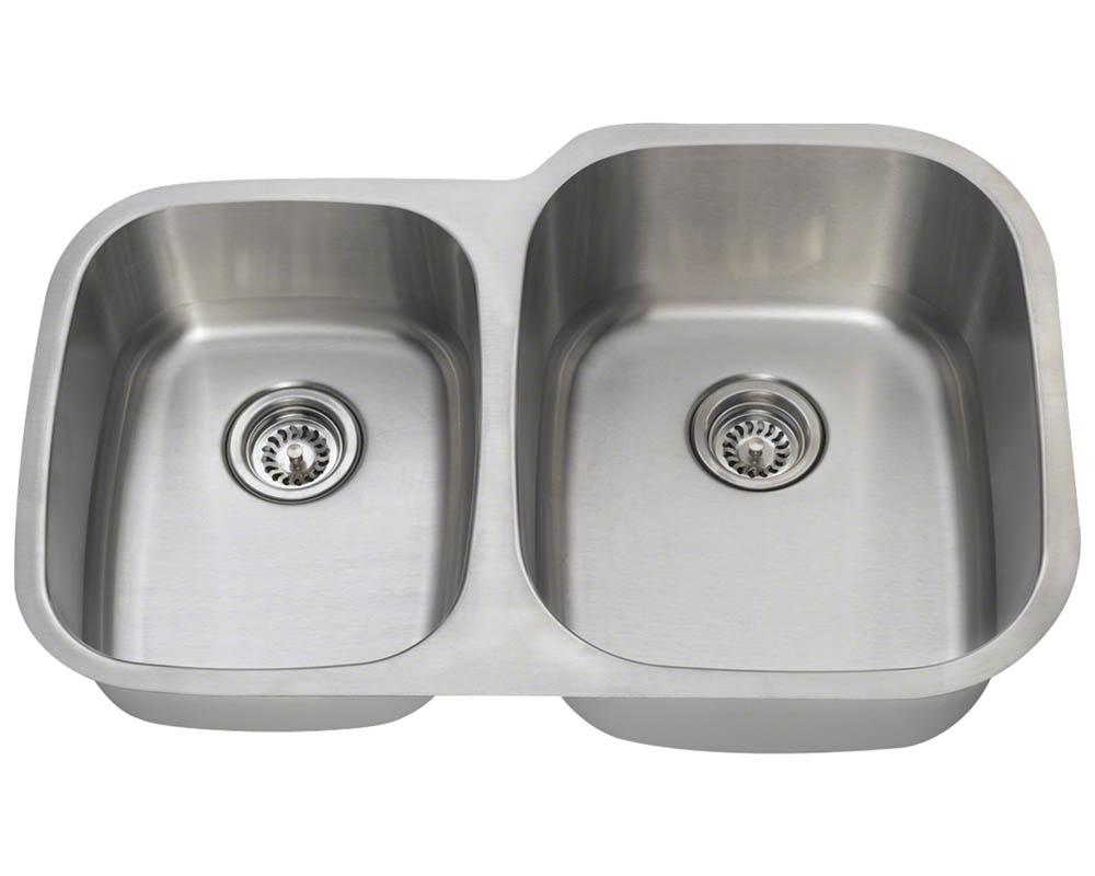 Polaris PR305-16 Offset Double Bowl Stainless Steel Sink