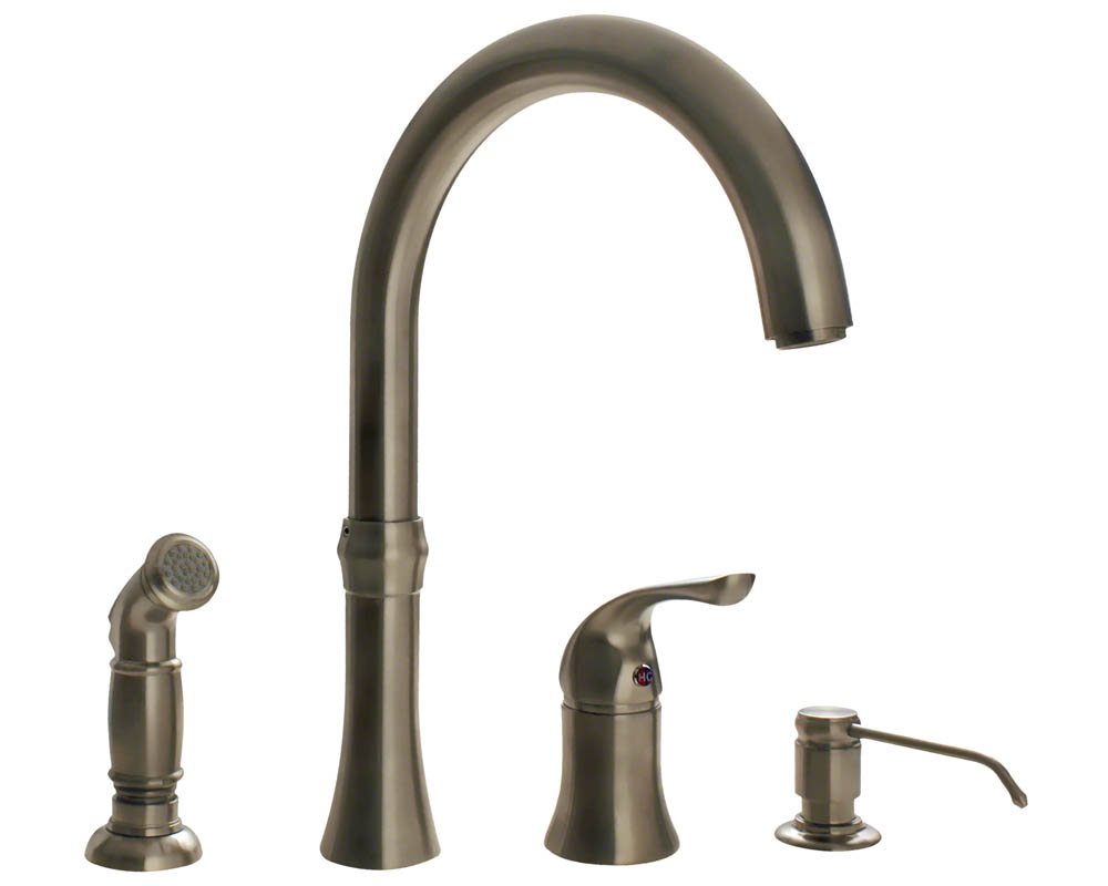 Brushed Nickel Kitchen Faucet : 710-BN Brushed Nickel 4 Hole Kitchen Faucet eBay