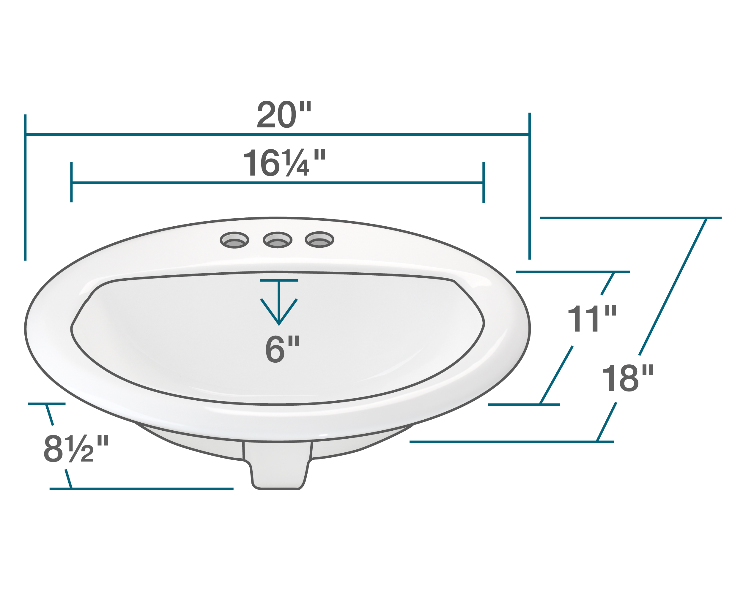 details about o2018 white overmount bathroom sink