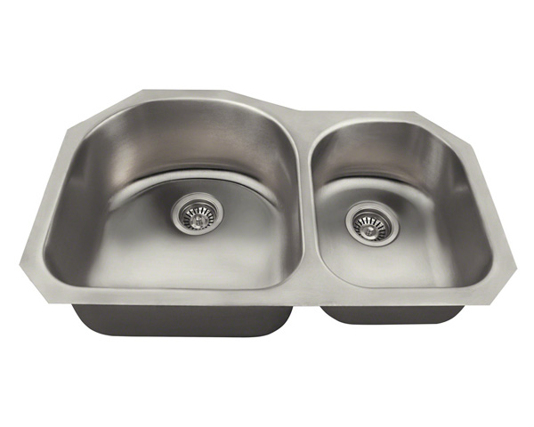 Polaris PL1301US Offset Double Bowl Stainless Steel Kitchen Sink