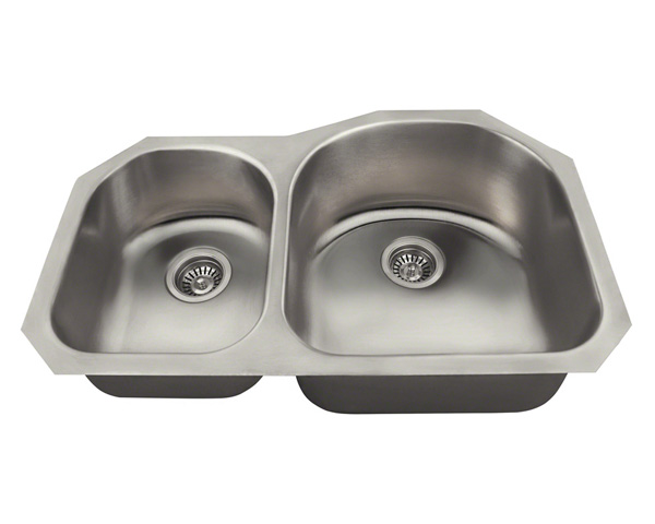Polaris PR1301US Offset Double Bowl Stainless Steel Kitchen Sink