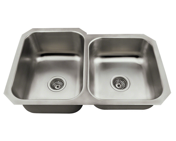 Polaris PL3501US Offset Double Bowl Stainless Steel Kitchen Sink
