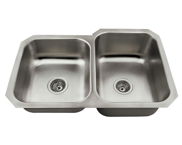 Polaris PR3501US Offset Double Bowl Stainless Steel Kitchen Sink
