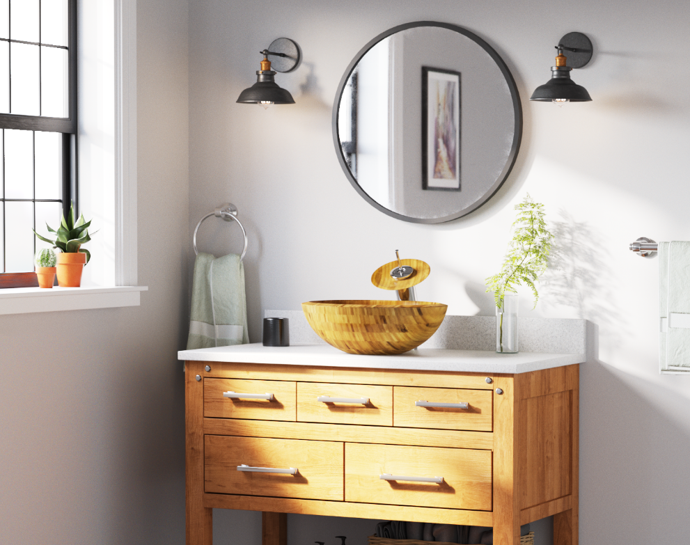 A white bathroom with a wooden cabinet and white countertop with a round bamboo sink