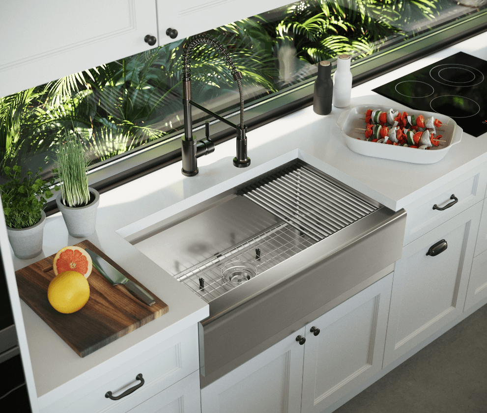 Maximize space in your kitchen by installing a stainless steel workstation apron sink perfect for your kitchen prep space.