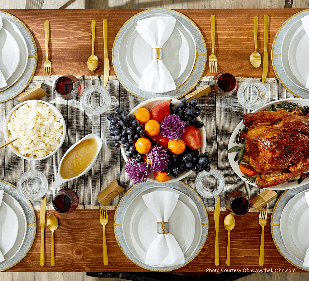 Beautiful tablescape with Thanksgiving feast ready for family and friends.