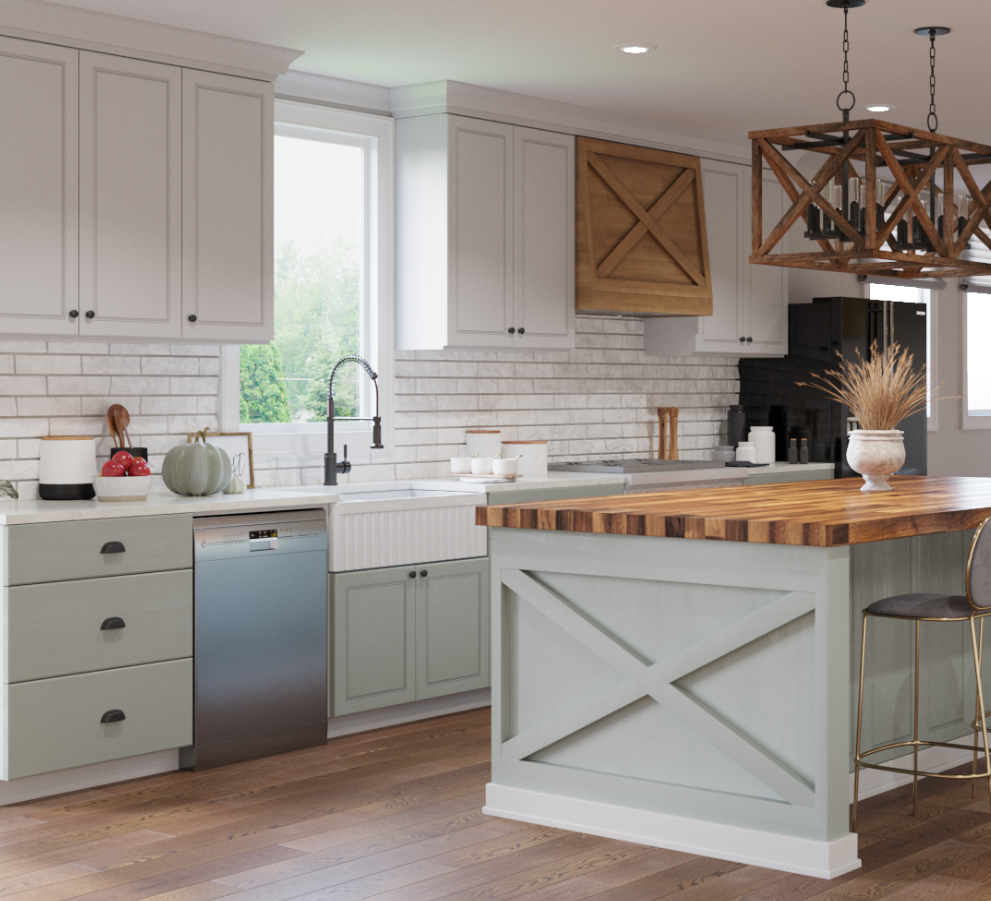 A large white farmhouse kitchen with a butcher block countertop and modern wooden light fixtures