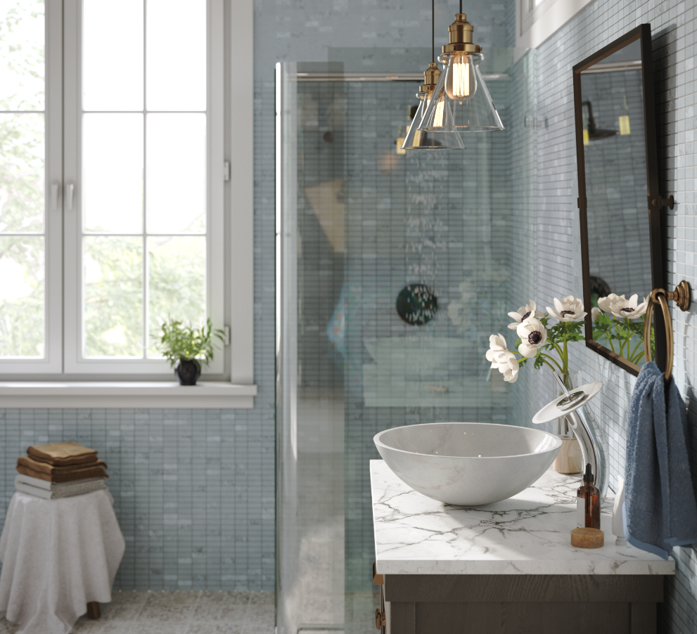 A modern bathroom with blue tiled walls, granite countertop and stone vessel sinks.