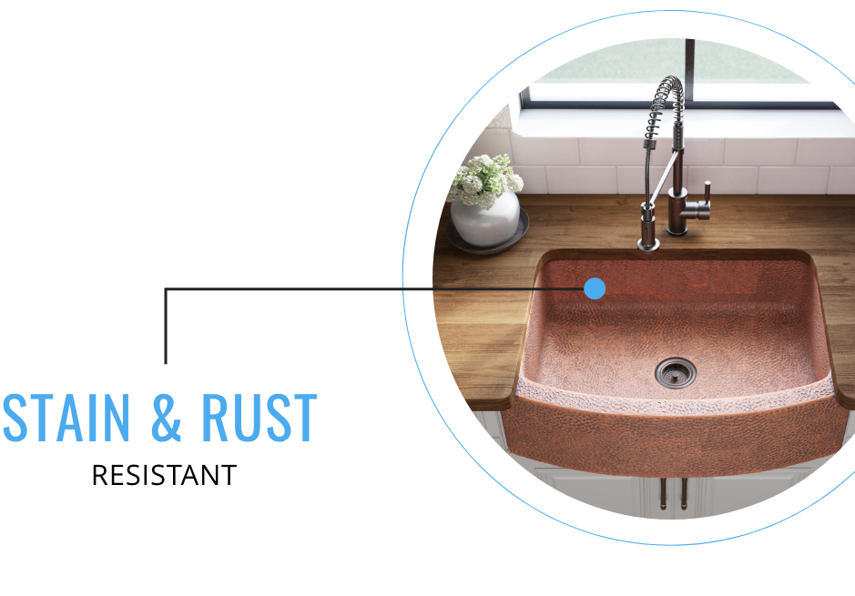 Copper sinks are stain and rust resistant.
