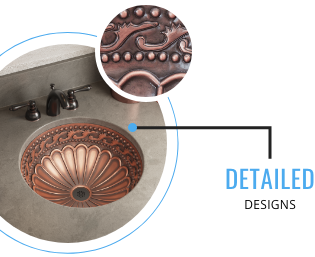 Copper sinks have detailed designs that show character.