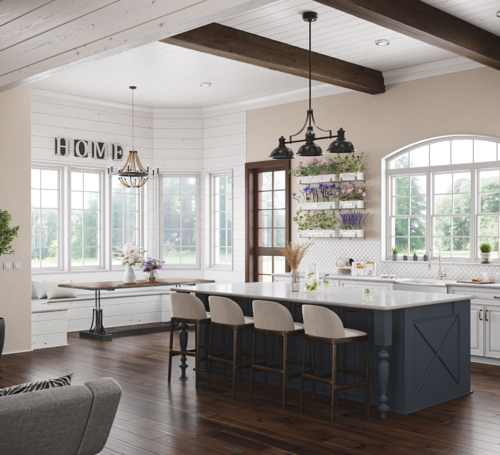 Open concept farmhouse kitchen design with a large island and white barstools, and a cozy breakfast nook by the windows.