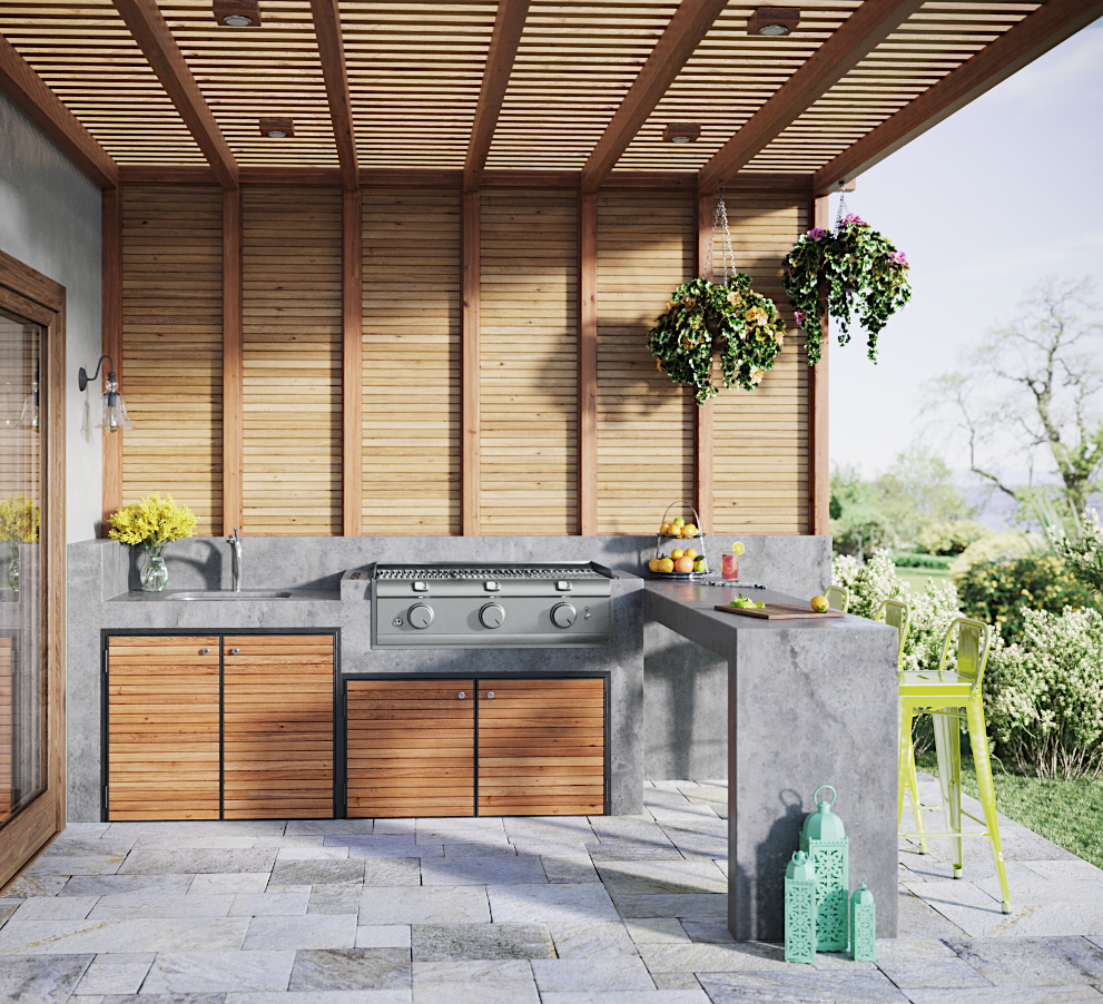 Cultivate a place to unwind in your backyard with a modern outdoor kitchen that is perfect for relaxing and entertaining.