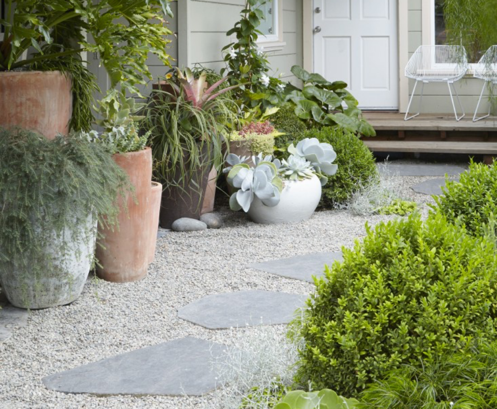 Create a decorative path with flat stone pavers for a calm and peaceful walking guide.