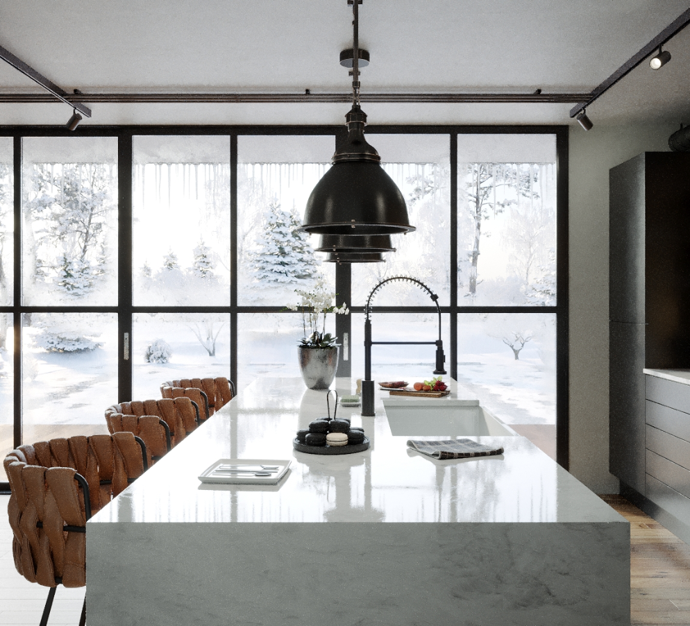 a modern black and white kitchen with marble island
