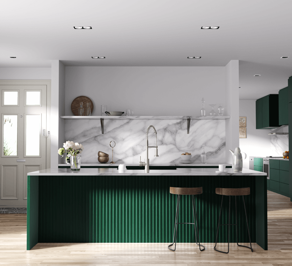 Emerald green cabinetry with luxurious marble backsplash, open shelving for a modern kitchen design and industrial style spring faucet on kitchen island.