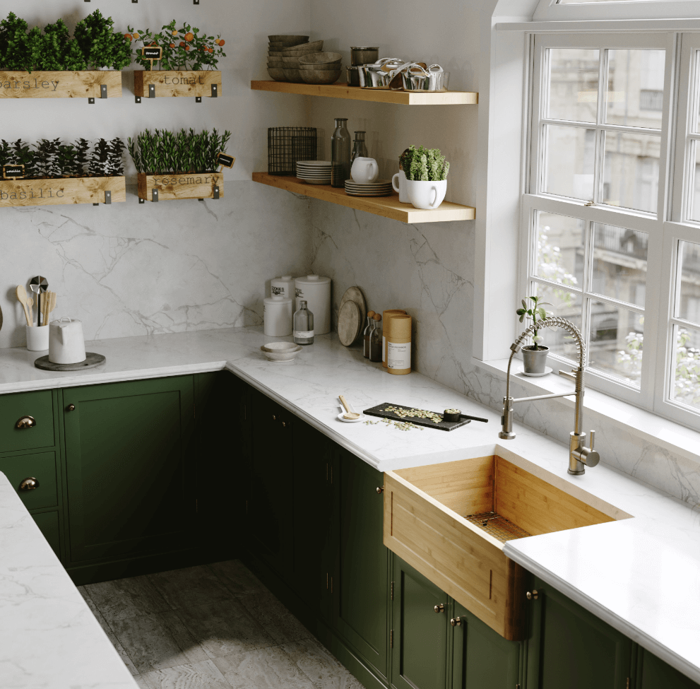 Bamboo farmhouse sink paired with an industrial-style spring faucet, rustic open shelving, white countertops,  indoor herb boxes, and earthy green cabinets.