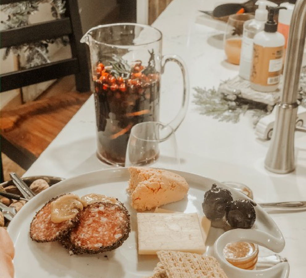 Recipe for both a delicious charcuterie platter and fresh rosemary spiced sangria.