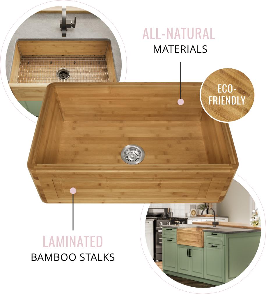 Bamboo Apron sinks are made of all-natural materials, including laminated bamboo stalks. Bamboo sinks are a great eco-friendly kitchen sink option.