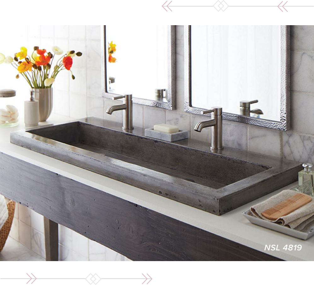 Concrete Vessel Native Trails sink in a modern bathroom.