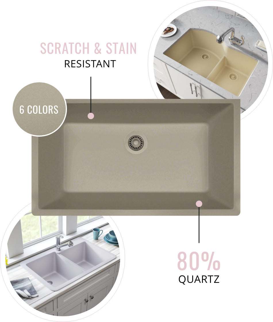 Quartz Granite sinks come in six different colors, and are eighty percent quartz. Quartz Granite is also scratch and stain resistant.