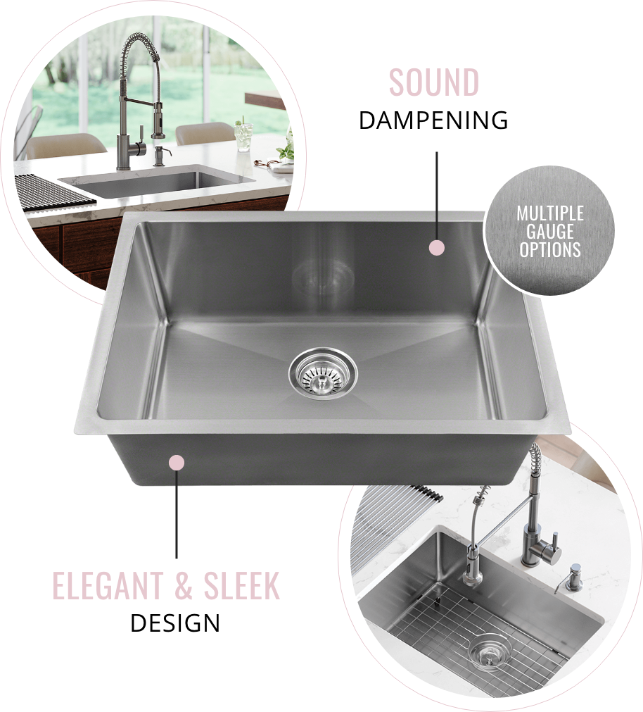 Stainless Steel sinks come in multiple gauge options and is sound dampening. Stainless Steel sinks are also elegant and add a luxury feel to any kitchen.