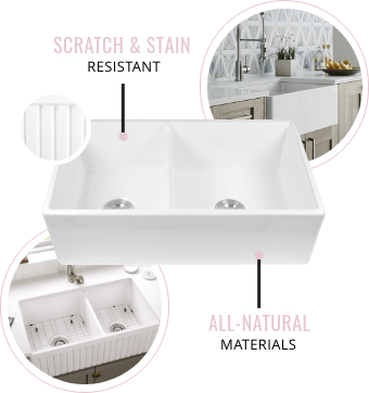Farmhouse Fireclay sinks are made of all-natural materials. Stainless Steel sinks are also scratch and stain-resistant